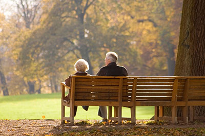 elderly couple enjoying social security